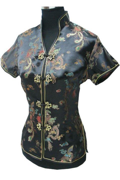 Голубой v-образным вырезом рубашки топы mujer camisa женский блузка традиционной китайской женская атласная одежда размер sml xl xxl xxxl jy044-4
