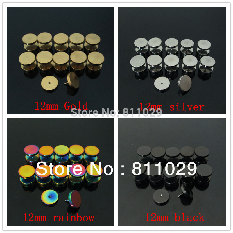 piercing mixed colors gauges illusion cheaters stainless steel plain screw ear Fake Plugs - TGEOR Piercing Jewelry store