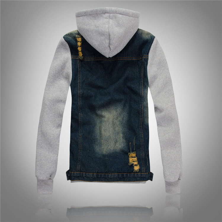 2015 New Korean mens Slim hooded denim jacket men s jeans plus velvet jacket men winter