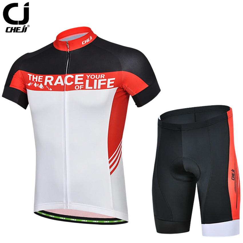 CHEJI Cycling Jersey Red Racing Bicycle Outdoor Sportswear Bike Clothing Wear Shirt - World Store store