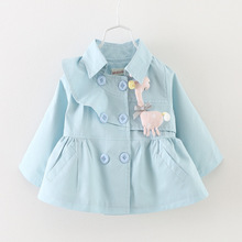 new 2016 spring autumn baby jackets turn down collar cute infants girls Trench Coat casaco infantil