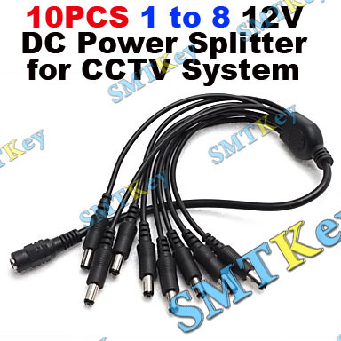 10pcs 1-to-8 12V DC Power Splitter for CCTV System(China (Mainland))