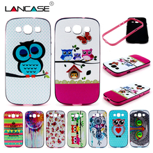 Silicone Case For Samsung Galaxy S3 S4 S5 S6 Edge Cute OWL Elepant Flower Soft Back Case+Frame Bumper for Samsung Galaxy S3 Case(China (Mainland))