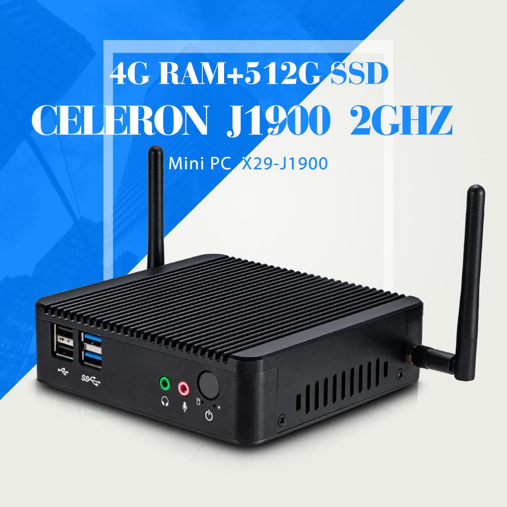 Mini Computer Fanless Mini PC DDR3 RAM J1800 J1900 2 LAN Mini PC Windows 7 Mini computer for office industrial PC(China (Mainland))
