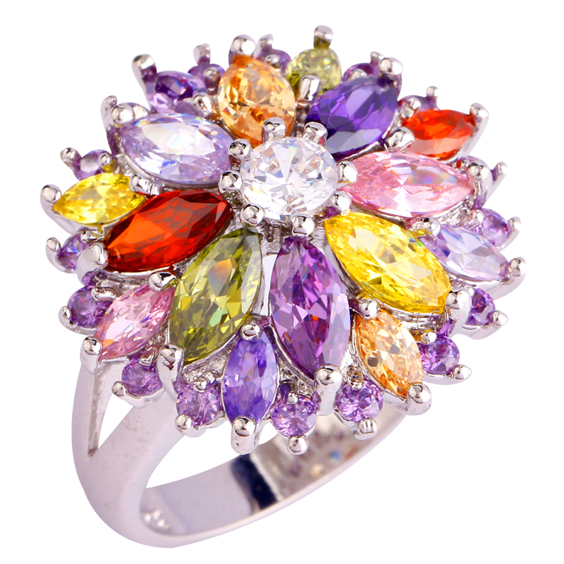 lingmei Wholesale Peridot Garnet Citrine Amethyst Multi-Color Silver Ring Size 6 7 8 9 10 11 12 13 Women Jewelry Flower Design(China (Mainland))