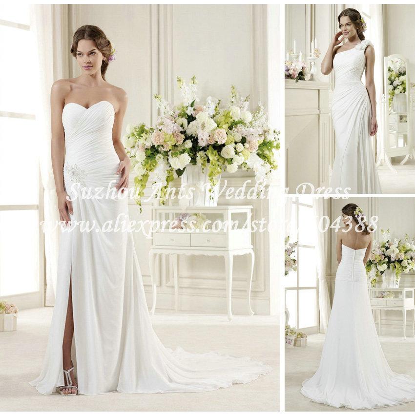 Unique style pleat low back low split removable one for One shoulder beach wedding dress