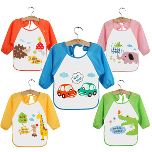 newCute Baby Bibs Smock bibs Infant Burp Cloths Lunch Bibs Toddler Waterproof Long Sleeve Children Kids Feeding Eating Smock Bib(China (Mainland))