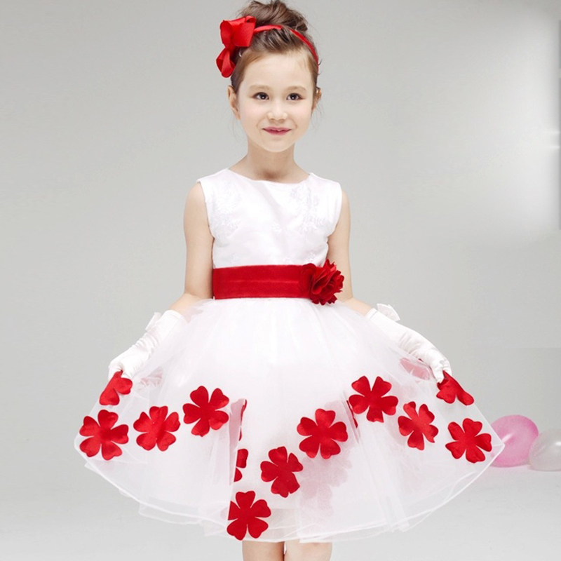 New Elegant Baby Girl Party Dress Sleeveless White Flower Dresses Cute Bow Princess Kid Pageant Dress Bridesmaid Cloth for girls(China (Mainland))