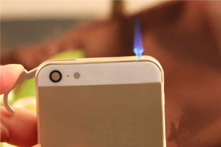 Simulation 1:1 Fashion creative iphone windproof gas lighter gold silver lighter Men cigarette lighter for iphone 5/5s(China (Mainland))