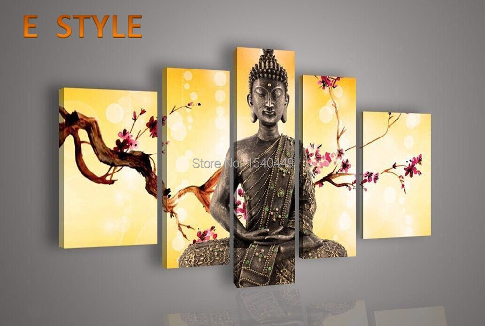 Canvas paintings High Quality Hand Made Group Oil Painting 5 Panel Wall Art Religion Buddha Oil Painting On Canvas No Framed 70e(China (Mainland))