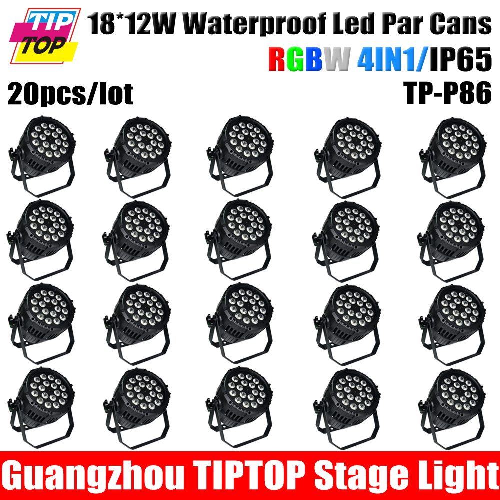 20XLOT No Noise 18*12W waterproof Led Par cans 4in1,RGBW dmx Stage Lighting Aluminum 4/8 DMX Channel waterproof led party lights(China (Mainland))