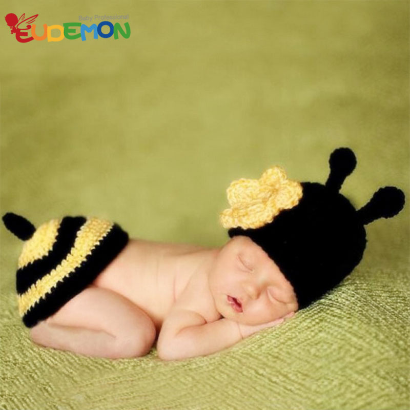 [Eudemon] Baby Bee Costumes For Newborn Photography Props 2016 Knitting Hat For Baby Disfraces Child Crochet Patterns(China (Mainland))