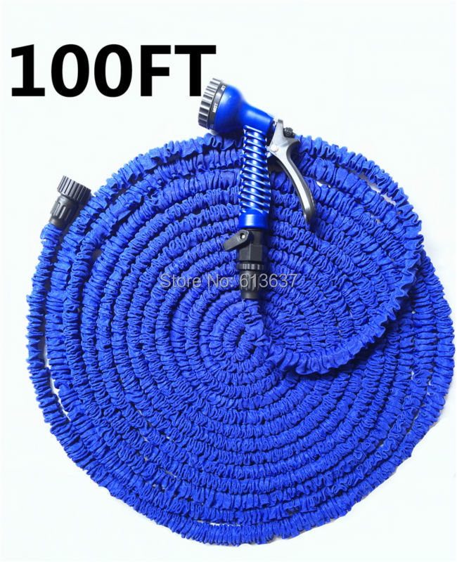 D-4 Free Shipping After Stretched Working Lenght 30M Plastic Connector 100FT Blue Garden Water Hose+7 set Spray Gun(China (Mainland))