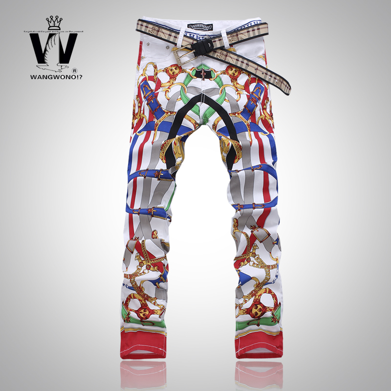 NWT Fashion brand stretch jeans men Pencil Pants Print color Pattern mens skinny overalls pantalones Slim pants vaqueros - JACK ANTONG SHOP store