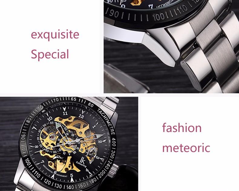 Роскошные Механическая Скелет Водонепроницаемые Часы Мужчины Марка И. К. Нержавеющей Стали Ремешок Мода Повседневная Наручные Часы Relogio мужской A/B