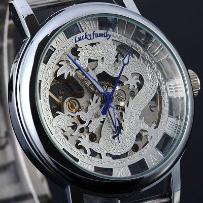 Уникальный феникс мужской дракон шаблон вырез руководство ветер аналоговые прозрачный механические мужские часы ремешок золотые наручные часы