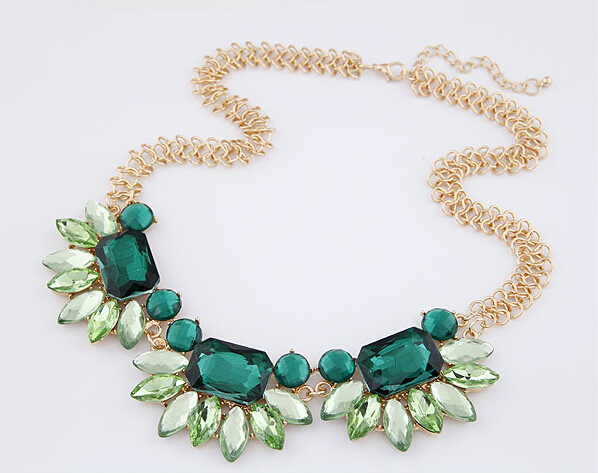 Fashion Green Crystal Flower Floral Choker Collar Necklace Gold Tone Thick Chain For Women Jewelry(China (Mainland))