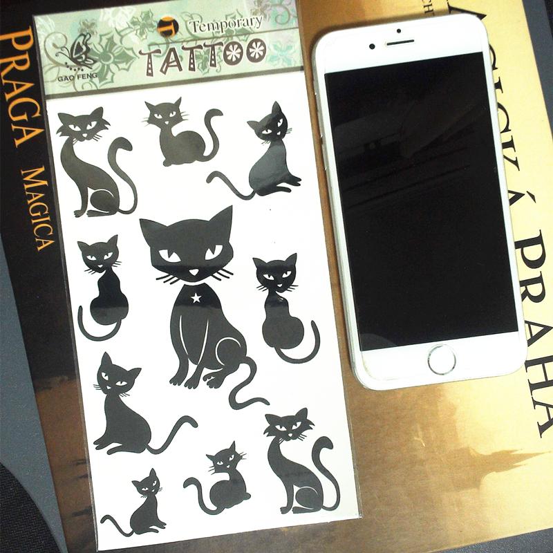 Cute Black Cats Temporary Tattoo Body Art Flash Tattoo Sticker 17 10cm Waterproof Henna Tatoo Summer