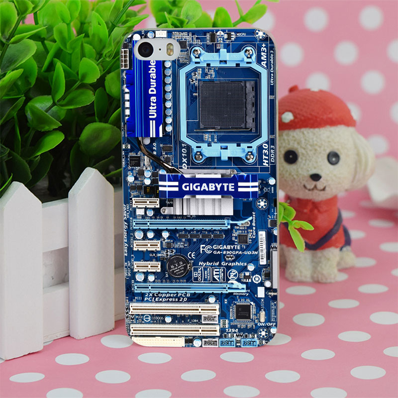 B0426 Blue Computer Motherboard Transparent Hard Thin Case Cover For Apple iPhone 4 4S 5 5S SE 5C 6 6S 6Plus 6s Plus(China (Mainland))