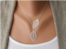 New 2015 Designer Free Shipping Women Fashion Simple 2 Leaves Choker Necklace Collar Statement Necklace Women Jewelry Cai0043