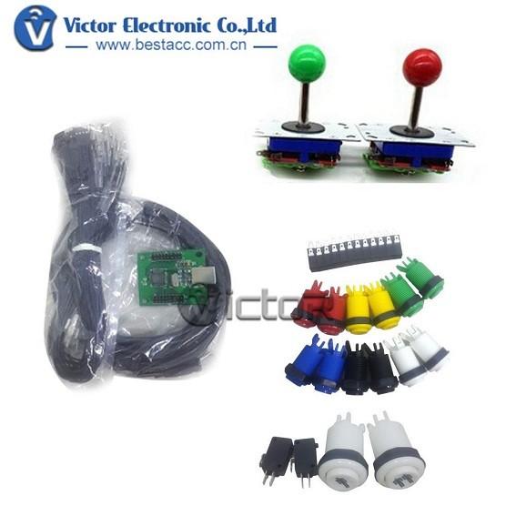 Arcade Joystick Kit for 2 Players Arcade DIY Kit USB Encoder To arcade joystick parts(China (Mainland))