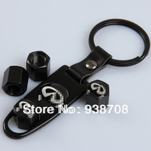 Stainless Steel Black 4 Pcs/Set Car Wheel Airtight Tyre Tire Stem Air Valve Caps with Keychain Fit for Infiniti(China (Mainland))