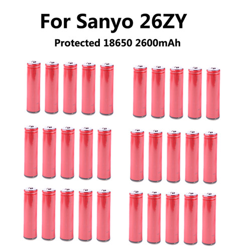 30PCS Original 18650 rechargeable li-ion Battery for Sanyo UR18650ZY 2600mAh With PCB Protected for sanyo 2600 mAH batteries<br><br>Aliexpress