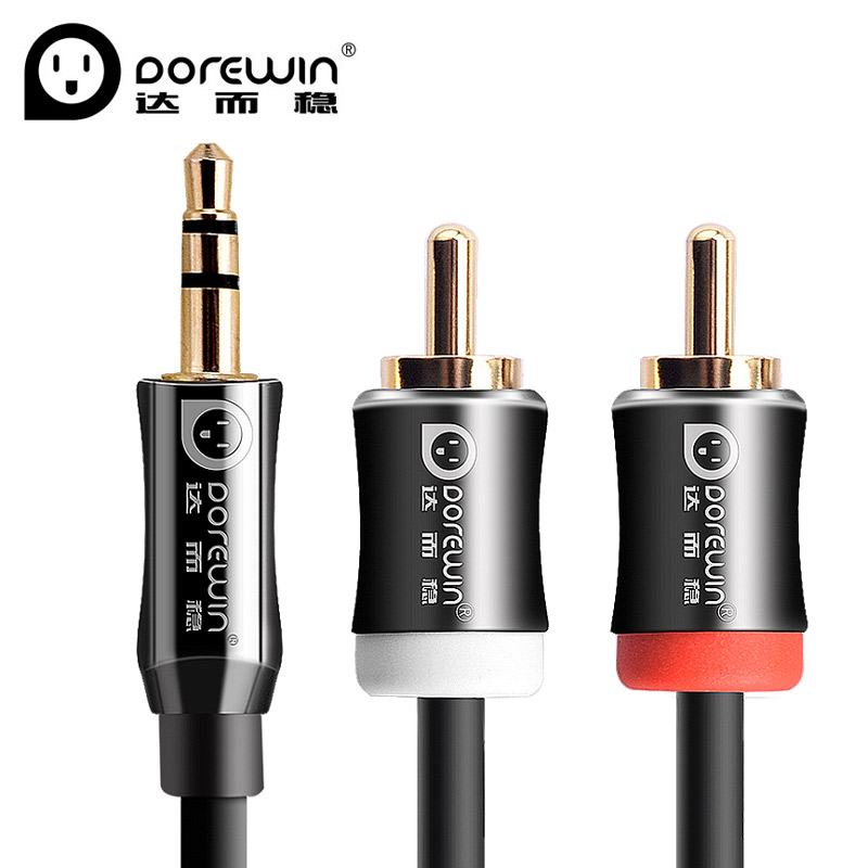 Dorewin HiFi Jack Male 3.5mm to 2 RCA Audio Extention Cable Stereo AUX Audio Cable 3M/5M/10M/20M for MP3/DVD/CD/TV/Speaker(China (Mainland))