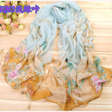 2016 New Women Chiffon Floral Printed Designer Scarf Summer Beach Gradient Plaid Flower Casual Silk Scarves Long Wrap Pashmina(China (Mainland))