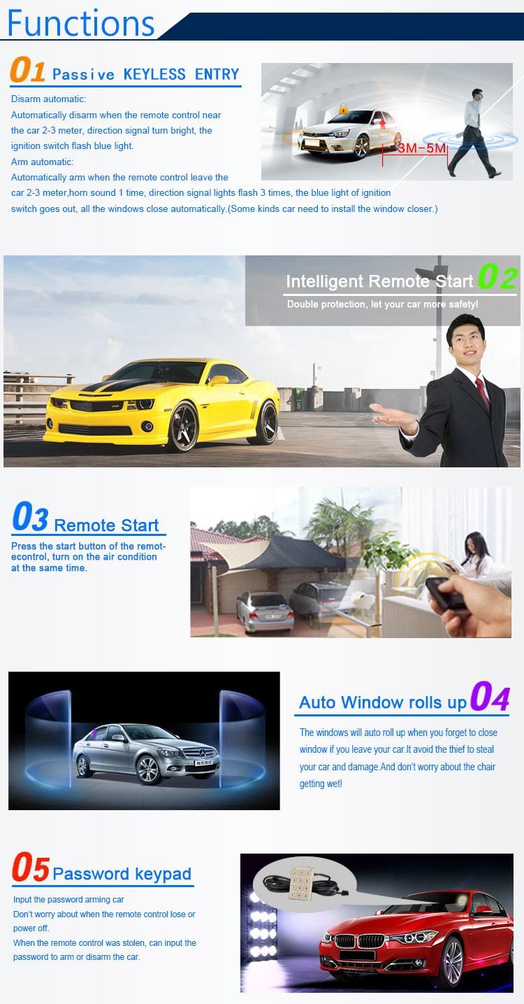 Engine Start Stop Function PKE Engine Start Push Button Start Car Security One Way Car Alarm System