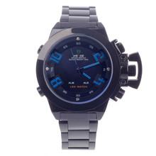 Weide WH-1008 hombres cuarzo y llevó electrónica Dual Time reloj de pared reloj – negro ( 1 x CR2016 )