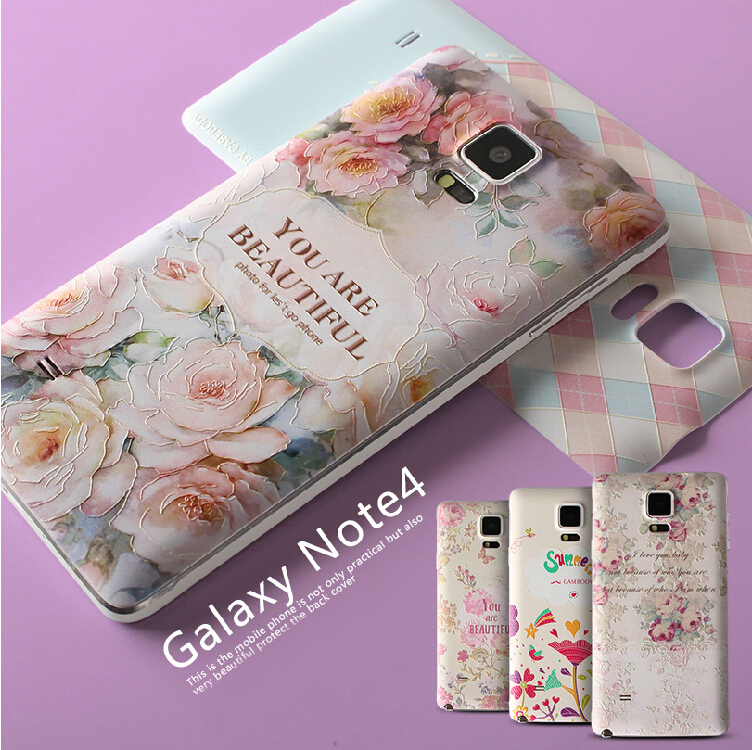 Plastic Cover Phone Cases For Samsung Galaxy Note 4 Note4 IV Case Battery Back Cover 3D Embossing Relief Pattern Ultra-thin Bag(China (Mainland))