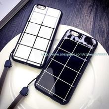 500 pcs Case for iphone6 /6plus 5/5S 4.7 /5.5 5S protective sleeve lanyard shell chequered Lovers case
