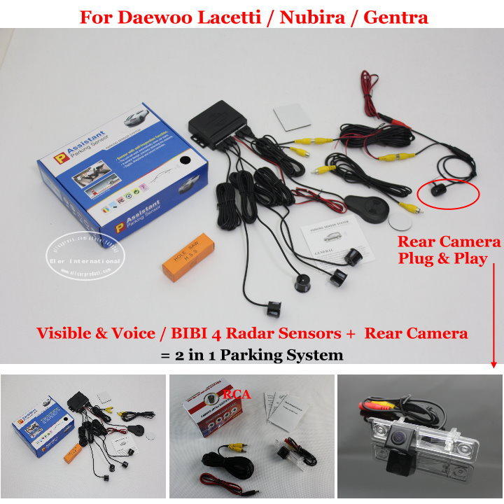 For Daewoo Lacetti / Nubira / Gentra - Car Parking Sensors + Rear View Camera = 2 in 1 Visible &amp; Vioce BIBI Alarm Parking System<br><br>Aliexpress