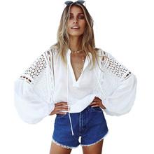 Buy Aproms White Lace Crochet Blouse 2017 Women's Lantern Sleeve Hollow Sheer Chiffon Shirt Cool Girls Casual Tunic Tops Blusas for $14.79 in AliExpress store