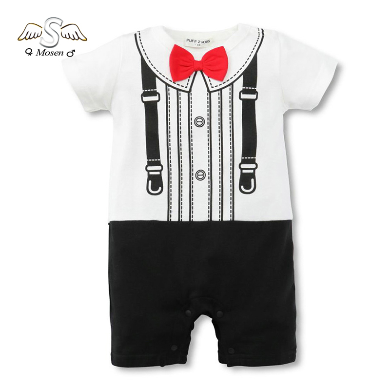 2016 New Black And White Baby Boy Romper Body Suits Baby