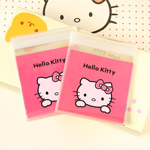 100pcs 10*10+3 Pink Hello Kitty Bakery Cookie Candy Biscuit Cello Self Adhesive OPP Plastic Bag Gift Soap Food Party Christmas(China (Mainland))