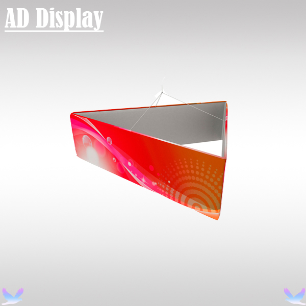 10ft*3.5ft Exhibition Booth Portable Tension Fabric Triangular Hanging Banner Display Stand With Single Side Full Color Printing(China (Mainland))