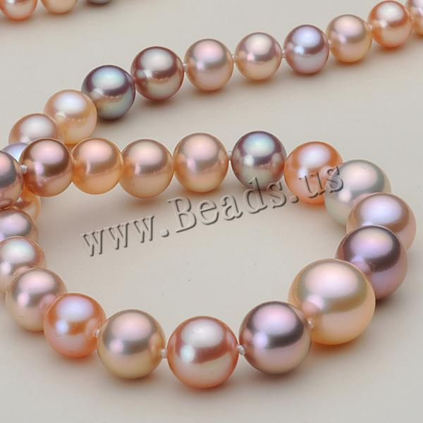 Free shipping!!!Natural Freshwater Pearl Necklace,Korea Jewelry, brass lobster clasp, with 3cm extender chain, Round