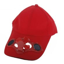 SYB Red Solar Powered Air Fan Cooled Baseball Hat Camping Traveling(China (Mainland))