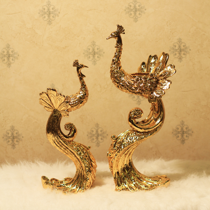 Home fashion new classical gold plated peacock crafts candelabra decoration wedding gifts candle holder(China (Mainland))