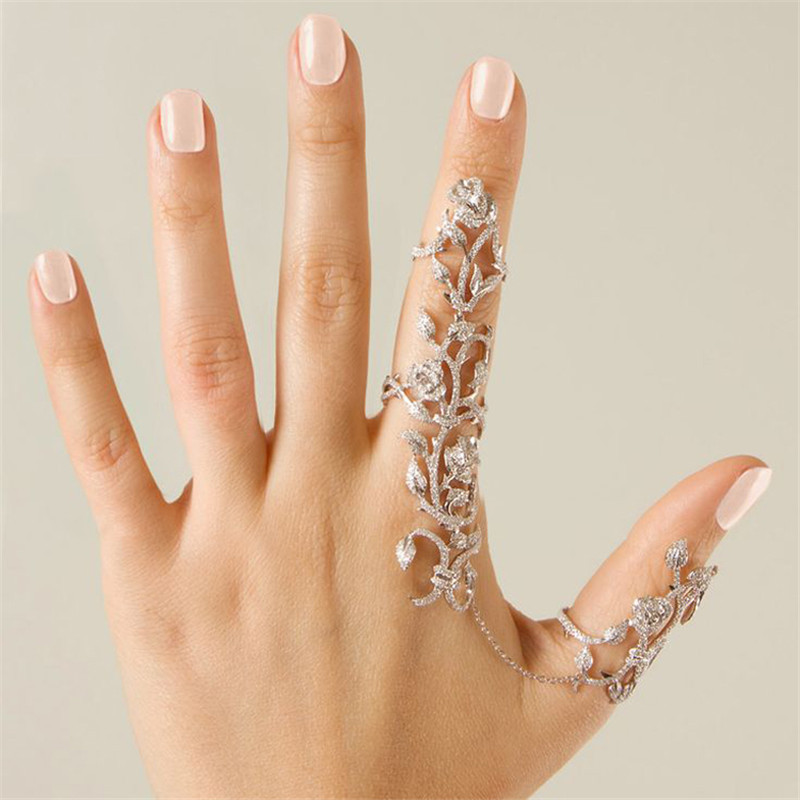 Stainless Steel fashion rings for women 2015!! Silver Gold Jewelry two finger Rings Set Sweetheart Rhinestone Rings(China (Mainland))