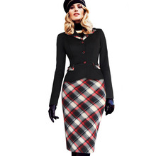 Womens 2016 Fall Fashion Colorblock Tartan Lapel Peplum Long Sleeve Wear to Work Business Party Sheath Pencil Dress