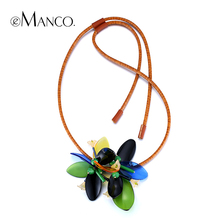 2015 spring summer new womens Green acrylic bead leather necklace fashion vintage flowers statement necklaces jewelry