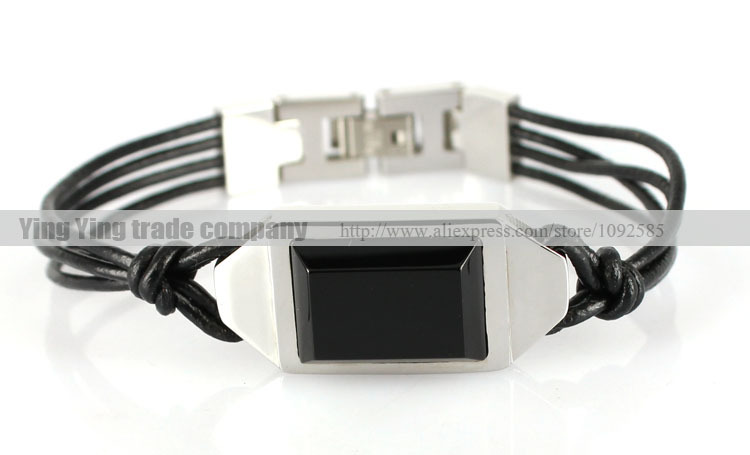 free shipping classical men 316L stainless steel cube charm bracelets with agate stone men bracelets XP-1258(China (Mainland))