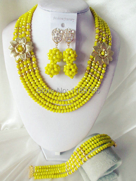 Fashion Nigerian African Wedding Beads Jewelry Set ,Crystal Necklace Bracelet Earrings Set A-3996<br><br>Aliexpress