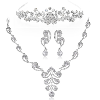 Fashion Wedding Jewelry Sets Silver Plated Flower Crystal Jewelry Bridal Necklace Set Women Costume Accessories