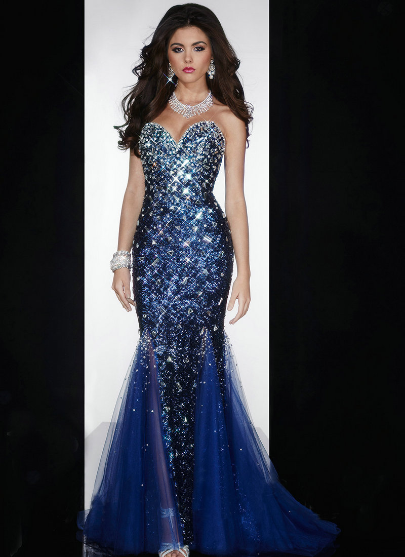 Dazzling Sweetheart Neckline Sleeveless Beaded Fully Sequined Navy Blue Mermaid Prom Dresses 2015 Pageant Gowns Floor Length(China (Mainland))