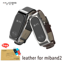 Buy Mijobs leather strap xiaomi miband 2 Wrist strap mi band smart Bracelet steel Metal Frame leather Wristband for $6.63 in AliExpress store