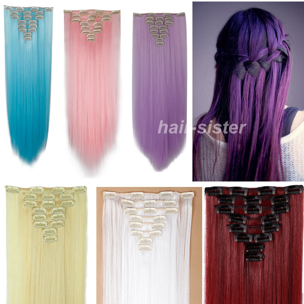 Halloween DIY Stylish 8Pcs/Set Clip in Hair Extensions Full Head 100% Natural Hair Extentions Long Straight Free Shipping(China (Mainland))